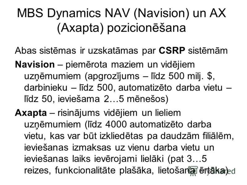 MBS Dynamics NAV (Navision) un AX (Axapta) pozicionēšana Abas sistēmas ir uzskatāmas par CSRP sistēmām Navision – piemērota maziem un vidējiem uzņēmumiem (apgrozījums – līdz 500 milj. $, darbinieku – līdz 500, automatizēto darba vietu – līdz 50, ievi