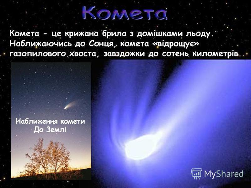 Комета - це крижана брила з домішками льоду. Наближаючись до Сонця, комета «відрощує» газопилового хвоста, завздожки до сотень километрів. Наближення комети До Землі
