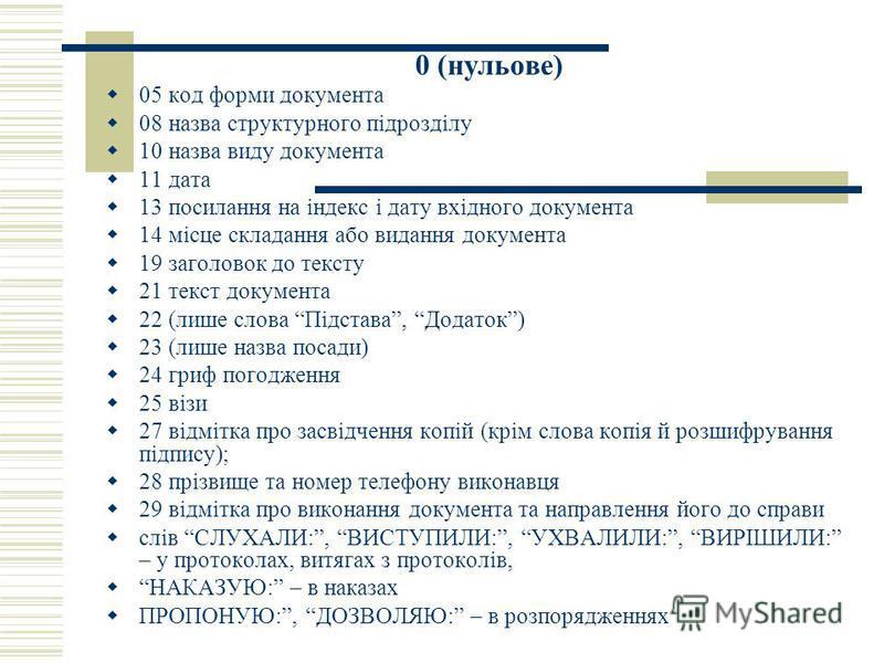 0 (нульове) 05 код форми документа 08 назва структурного підрозділу 10 назва виду документа 11 дата 13 посилання на індекс і дату вхідного документа 14 місце складання або видання документа 19 заголовок до тексту 21 текст документа 22 (лише слова Під