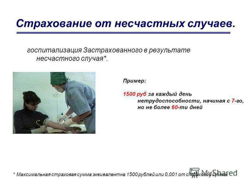 Страхование от несчастных случаев. госпитализация Застрахованного в результате несчастного случая*. * Максимальная страховая сумма эквивалентна 1500 рублей или 0,001 от страховой суммы Пример: 1500 руб за каждый день нетрудоспособности, начиная с 7-г