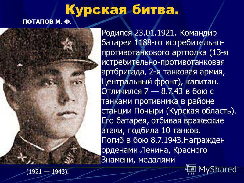 Курская битва. ПОТАПОВ М. Ф. (1921 1943). Родился 23.01.1921. Командир батареи 1188-го истребительно- противотанкового артполка (13-я истребительно-противотанковая артбригада, 2-я танковая армия, Центральный фронт), капитан. Отличился 7 8.7.43 в бою