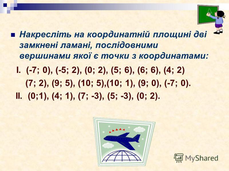 Накресліть на координатній площині дві замкнені ламані, послідовними вершинами якої є точки з координатами: І. (-7; 0), (-5; 2), (0; 2), (5; 6), (6; 6), (4; 2) (7; 2), (9; 5), (10; 5),(10; 1), (9; 0), (-7; 0). ІІ. (0;1), (4; 1), (7; -3), (5; -3), (0;