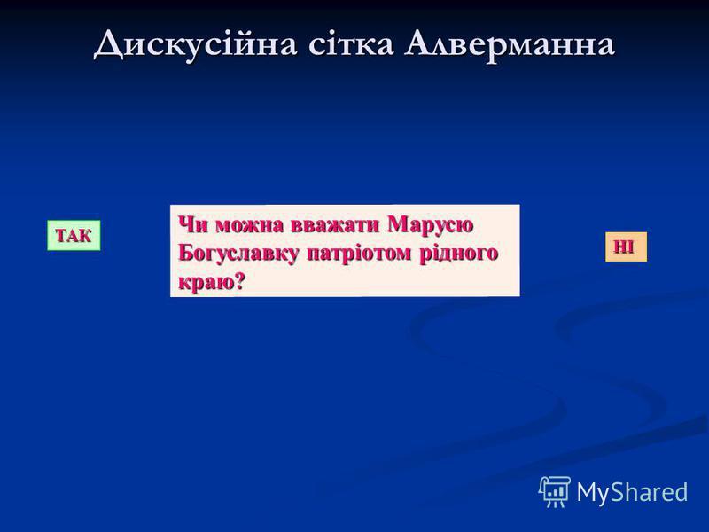 Дискусійна сітка Алверманна ТАК НІ Чи можна вважати Марусю Богуславку патріотом рідного краю?