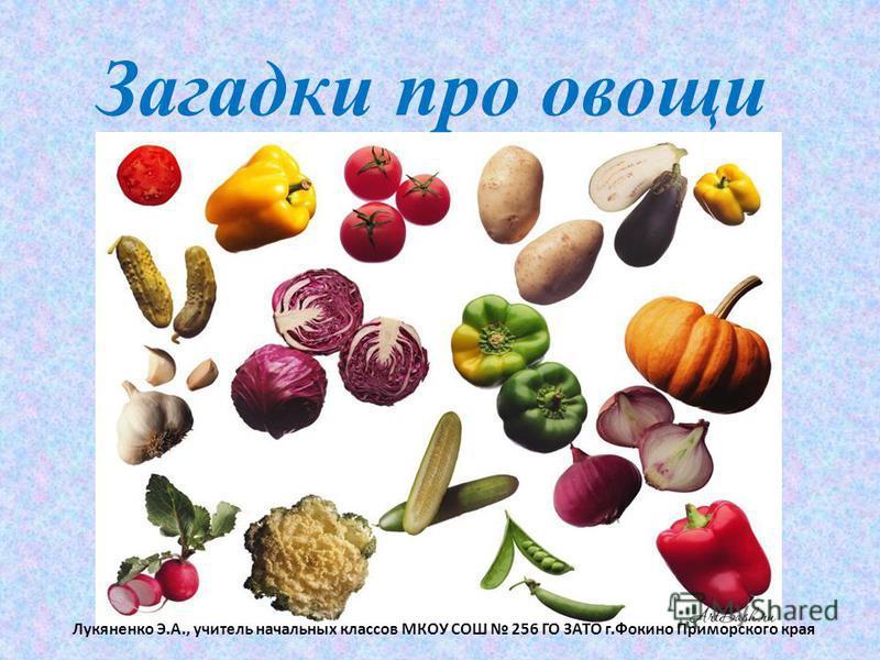 Загадки про овощи Лукяненко Э.А., учитель начальных классов МКОУ СОШ 256 ГО ЗАТО г.Фокино Приморского края