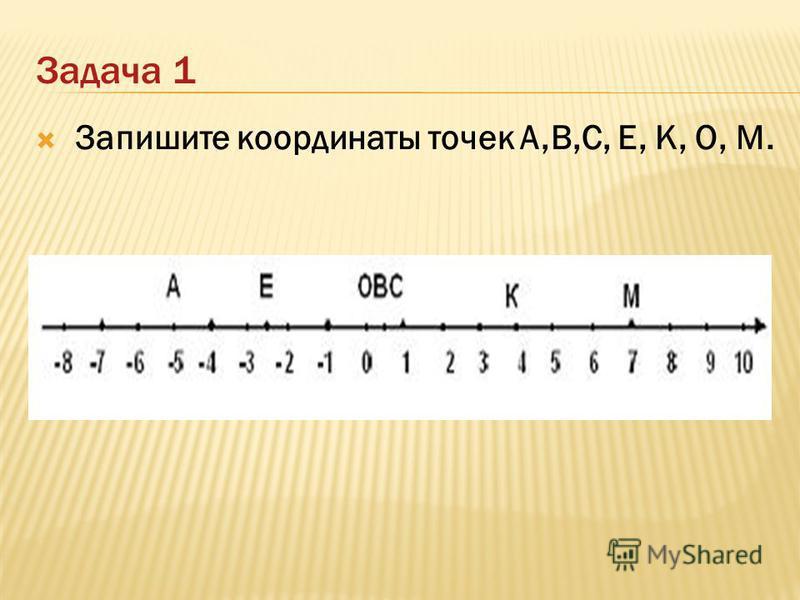 Задача 1 Запишите координаты точек А,В,С, Е, К, О, М.