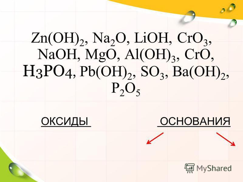 Zn(OH) 2, Na 2 O, LiOH, CrO 3, NaOH, MgO, Al(OH) 3, CrO, H 3 PO 4, Pb(OH) 2, SO 3, Ba(OH) 2, P 2 O 5 ОКСИДЫ ОСНОВАНИЯ