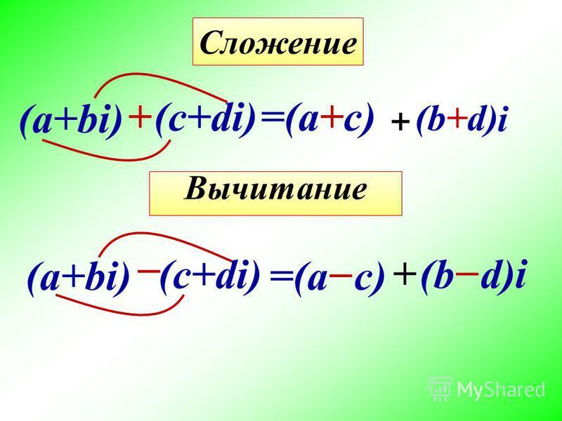 (а+bi) Вычитание =(a+c)+ (c+di) Сложение (b+d) + i (а+bi) (c+di) =(ac) + (bd) i