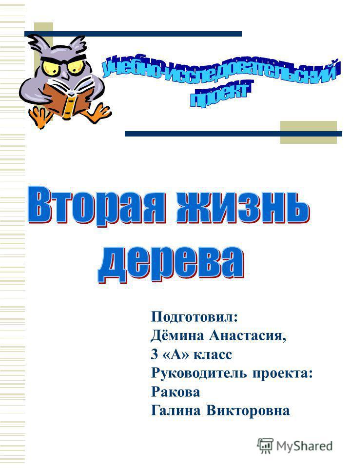 Подготовил: Дёмина Анастасия, 3 «А» класс Руководитель проекта: Ракова Галина Викторовна