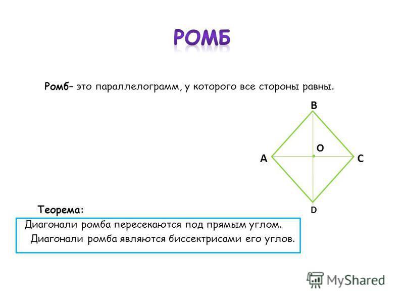 Ромб– это параллелограмм, у которого все стороны равны. В А С Теорема: D Диагонали ромба пересекаются под прямым углом. Диагонали ромба являются биссектрисами его углов. О