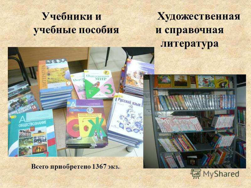 Учебники и учебные пособия Художественная и справочная литература Всего приобретено 1367 экз.