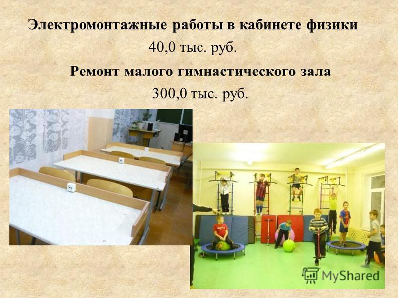 Электромонтажные работы в кабинете физики 40,0 тыс. руб. Ремонт малого гимнастического зала 300,0 тыс. руб.