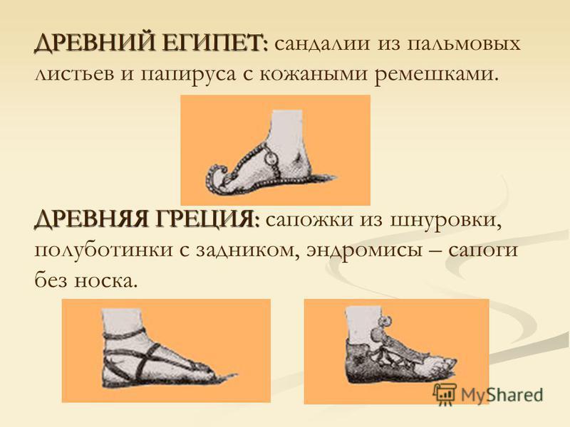 ДРЕВНИЙ ЕГИПЕТ: ДРЕВНИЙ ЕГИПЕТ: сандалии из пальмовых листьев и папируса с кожаными ремешками. ДРЕВНЯЯ ГРЕЦИЯ: ДРЕВНЯЯ ГРЕЦИЯ: сапожки из шнуровки, полуботинки с задником, эндромисы – сапоги без носка.