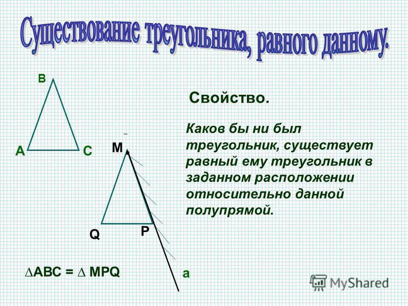 А В С Р М Q Свойство. Каков бы ни был треугольник, существует равный ему треугольник в заданном расположении относительно данной полупрямой. а. АВС = MPQ