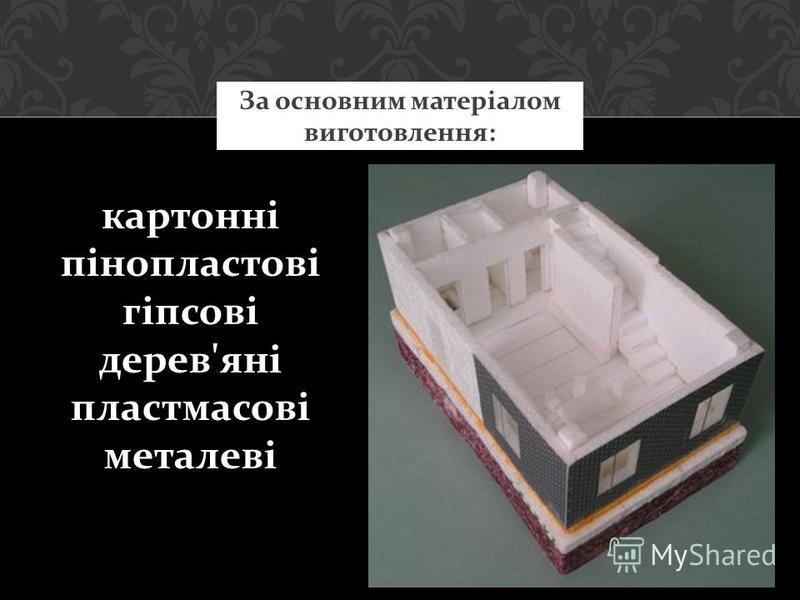 За основним матеріалом виготовлення: картонні пінопластові гіпсові дерев'яні пластмасові металеві