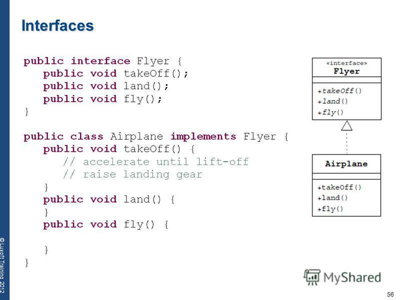 56 © Luxoft Training 2012 Interfaces