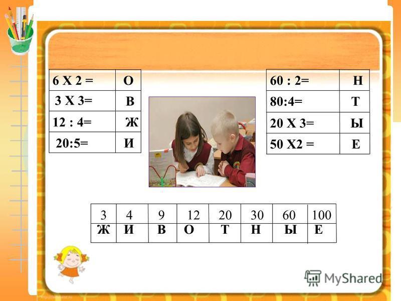 Вычисли и расшифруй И 20:5= Ж12 : 4= В 3 X 3= О6 X 2 = 10060302012943 Е50 X2 = Ы20 X 3= Т80:4= Н60 : 2= ЖИВОТНЫЕ