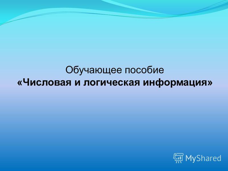 Обучающее пособие «Числовая и логическая информация»