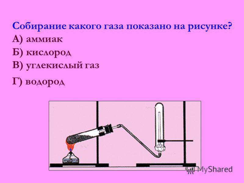 Собирание какого газа показано на рисунке? А) аммиак Б) кислород В) углекислый газ Г) водород