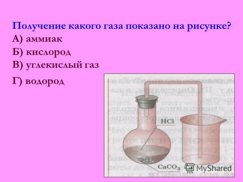 Получение какого газа показано на рисунке? А) аммиак Б) кислород В) углекислый газ Г) водород