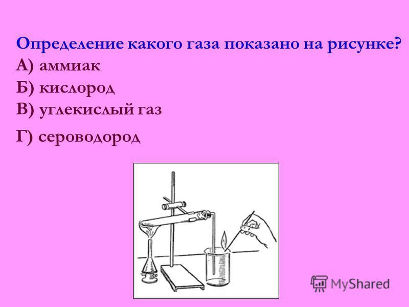 Определение какого газа показано на рисунке? А) аммиак Б) кислород В) углекислый газ Г) сероводород