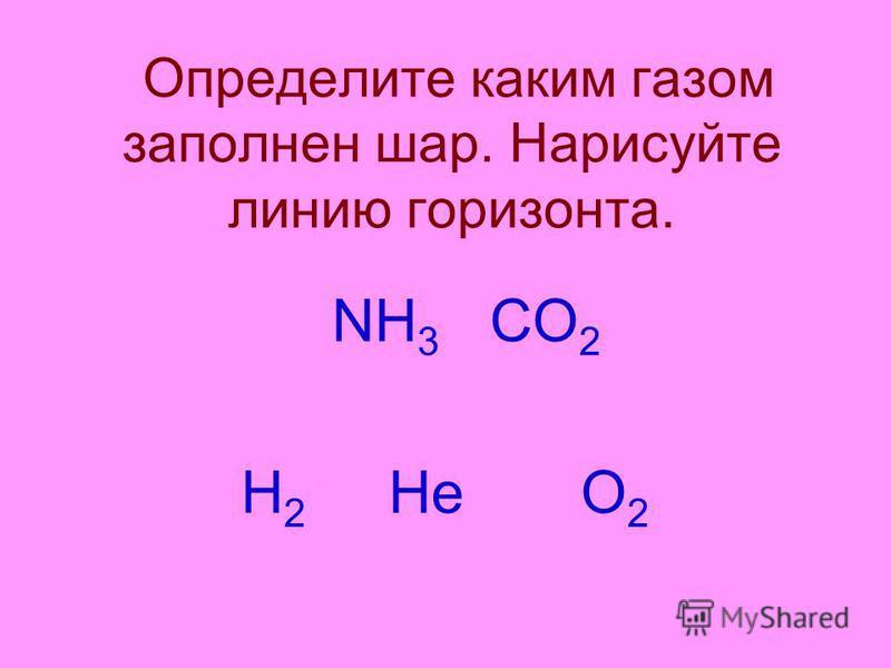 Определите каким газом заполнен шар. Нарисуйте линию горизонта. NН 3 СО 2 Н 2 Не О 2