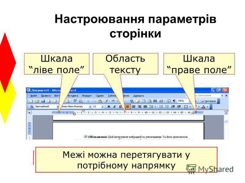 Настроювання параметрів сторінки Шкала ліве поле Шкала праве поле Область тексту Межі можна перетягувати у потрібному напрямку