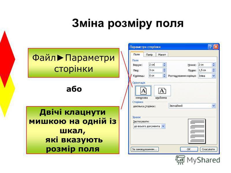 Зміна розміру поля Файл Параметри сторінки Двічі клацнути мишкою на одній із шкал, які вказують розмір поля або