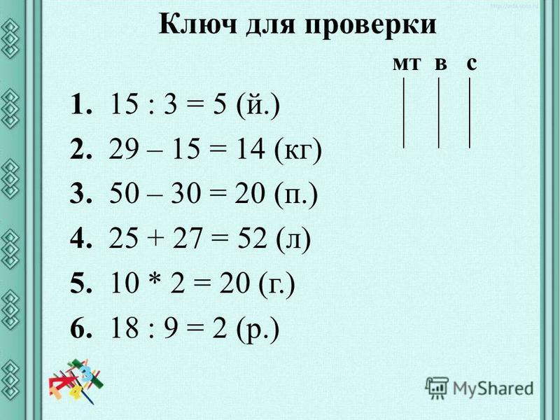 Ключ для проверки мт в с 1. 15 : 3 = 5 (й.) 2. 29 – 15 = 14 (кг) 3. 50 – 30 = 20 (п.) 4. 25 + 27 = 52 (л) 5. 10 * 2 = 20 (г.) 6. 18 : 9 = 2 (р.)