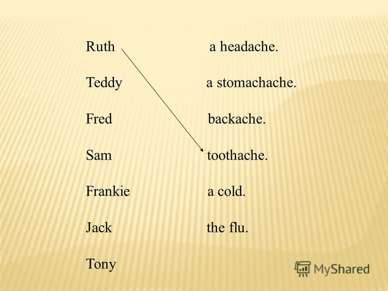 Ruth a headache. Teddy a stomachache. Fred backache. Sam toothache. Frankie a cold. Jack the flu. Tony