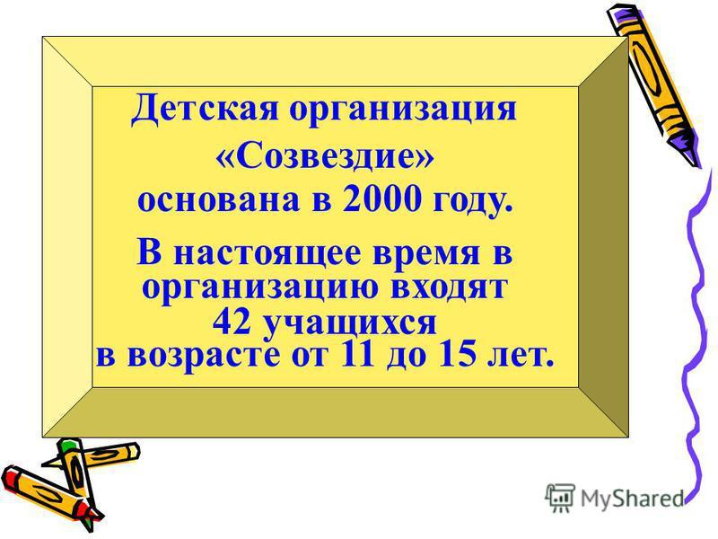 Детская организация «Созвездие» основана в 2000 году. В настоящее время в организацию входят 42 учащихся в возрасте от 11 до 15 лет.