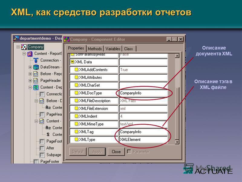 Описание документа XML Описание тэга в XML файле XML, как средство разработки отчетов