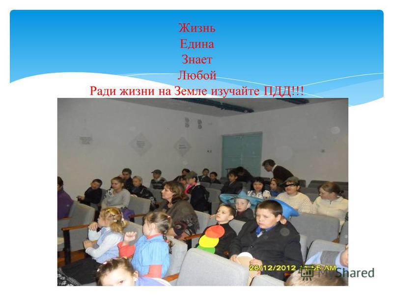 Жизнь Едина Знает Любой Ради жизни на Земле изучайте ПДД!!!