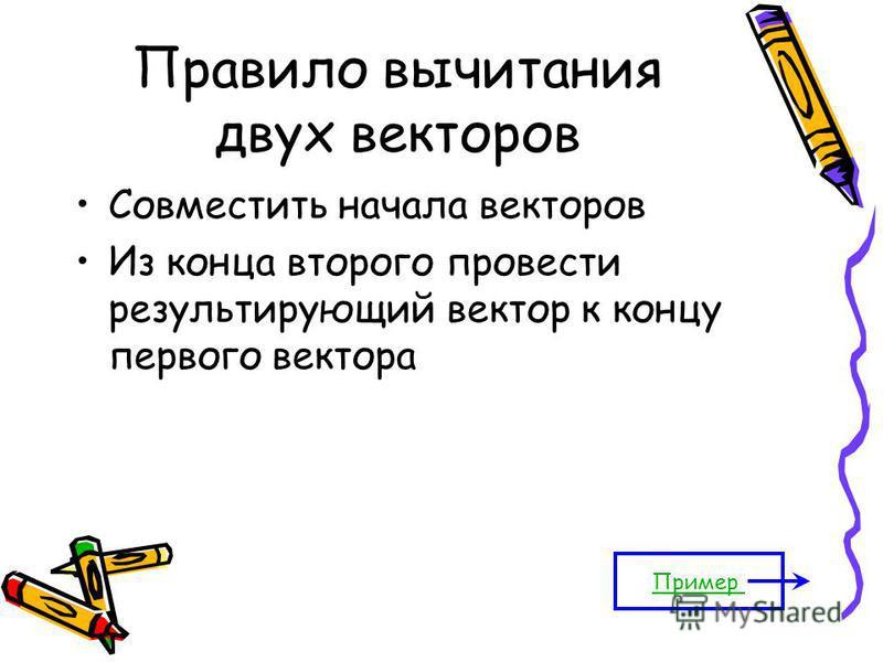Правило вычитания двух векторов Совместить начала векторов Из конца второго провести результирующий вектор к концу первого вектора Пример