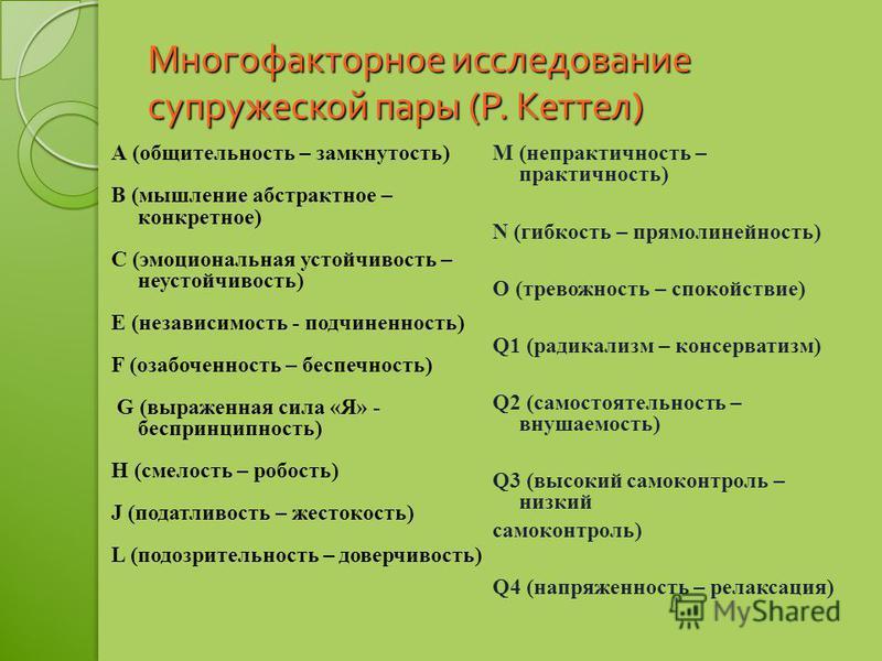 Многофакторное исследование супружеской пары ( Р. Кеттел ) А (общительность – замкнутость) В (мышление абстрактное – конкретное) С (эмоциональная устойчивость – неустойчивость) Е (независимость - подчиненность) F (озабоченность – беспечность) G (выра