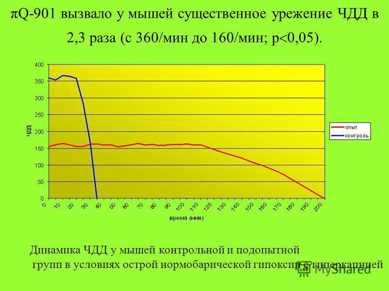 πQ-901 вызвало у мышей существенное урежение ЧДД в 2,3 раза (с 360/мин до 160/мин; р 0,05). Динамика ЧДД у мышей контрольной и подопытной групп в условиях острой нормобарической гипоксии с гиперкапнией