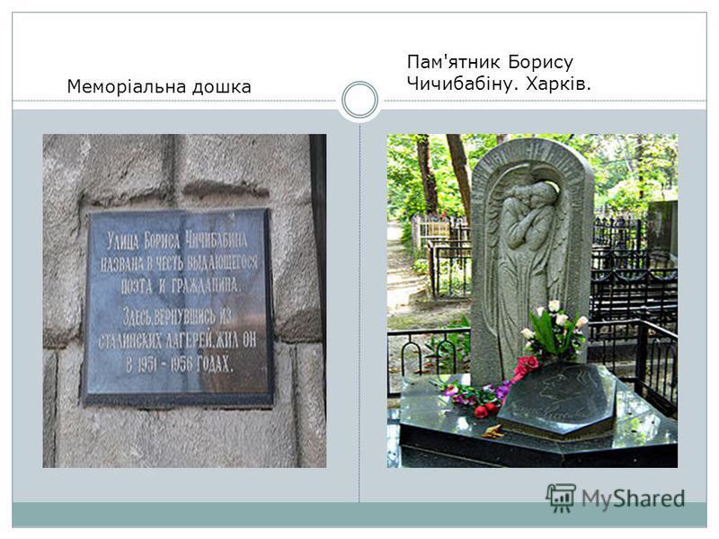 Меморіальна дошка Пам'ятник Борису Чичибабіну. Харків.