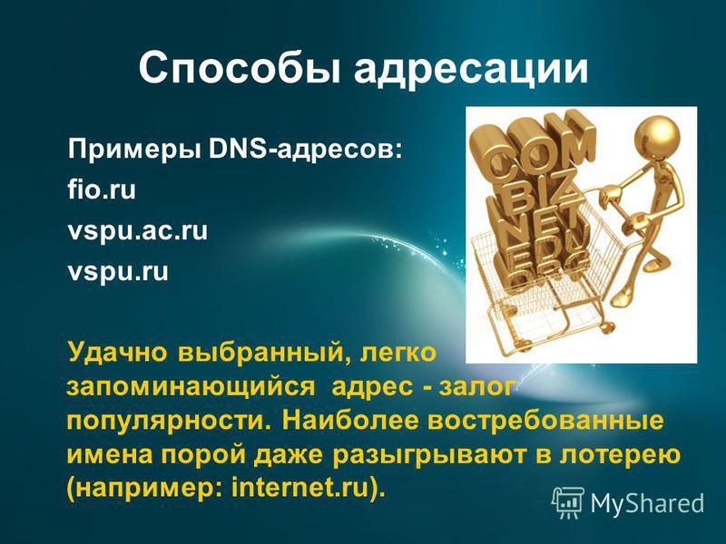 Способы адресации Примеры DNS-адресов: fio.ru vspu.ac.ru vspu.ru Удачно выбранный, легко запоминающийся адрес - залог популярности. Наиболее востребованные имена порой даже разыгрывают в лотерею (например: internet.ru).