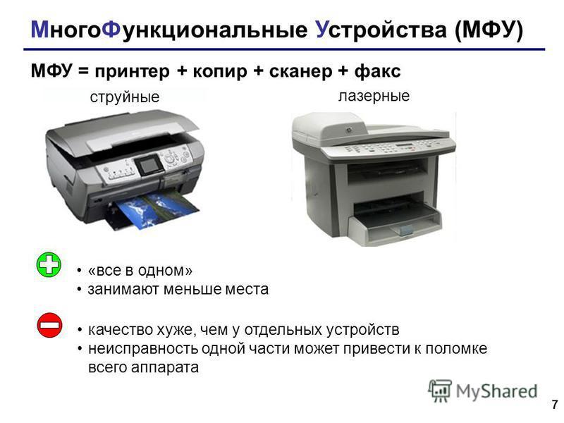 7 Много Функциональные Устройства (МФУ) МФУ = принтер + копир + сканер + факс струйные лазерные «все в одном» занимают меньше места качество хуже, чем у отдельных устройств неисправность одной части может привести к поломке всего аппарата