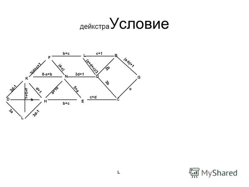 дейкстра Условие b+c (a+d+c)/3  a-b +1 o c+1 3d+1 c+d 3b 3d-1 3(d+c+1 3d-1 a+10 3a d+1  4-c  b+c 5+a b a+b+c 8-a+b D BL D C EH L F K L N G 2b