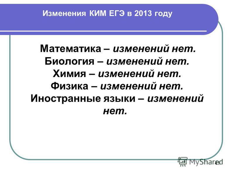 Изменения КИМ ЕГЭ в 2013 году 41 Математика – изменений нет. Биология – изменений нет. Химия – изменений нет. Физика – изменений нет. Иностранные языки – изменений нет.