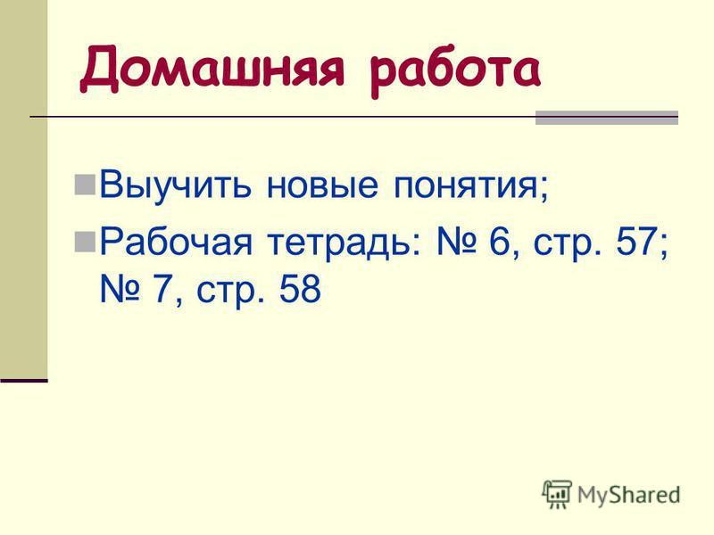 Домашняя работа Выучить новые понятия; Рабочая тетрадь: 6, стр. 57; 7, стр. 58