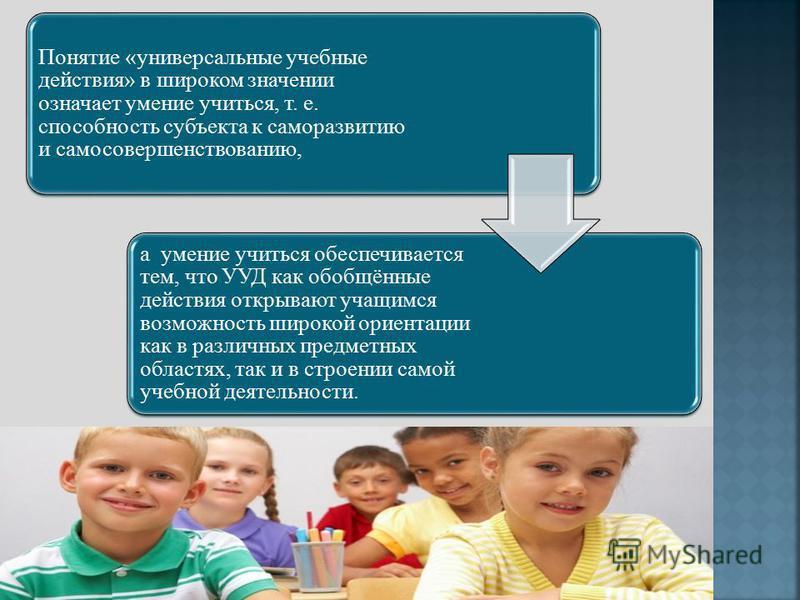 Понятие «универсальные учебные действия» в широком значении означает умение учиться, т. е. способность субъекта к саморазвитию и самосовершенствованию, а умение учиться обеспечивается тем, что УУД как обобщённые действия открывают учащимся возможност