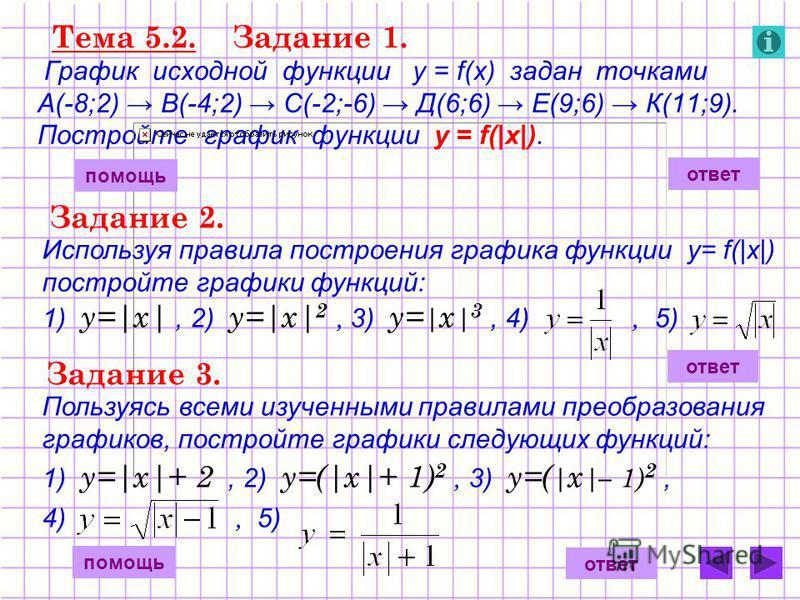 Тема 5.2. Задание 1. График исходной функции у = f(x) задан точками А(-8;2) В(-4;2) С(-2;-6) Д(6;6) Е(9;6) К(11;9). Постройте график функции у = f(|x|). ответ помощь Задание 2. Используя правила построения графика функции у= f(|x|) постройте графики