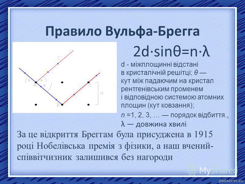 Правило Вульфа-Брегга 2d·sinθ=n·λ d - міжплощинні відстані в кристалічній решітці; θ кут між падаючим на кристал рентгенівським променем і відповідною системою атомних площин (кут ковзання); n =1, 2, 3, … порядок відбиття., λ довжина хвилі За це відк