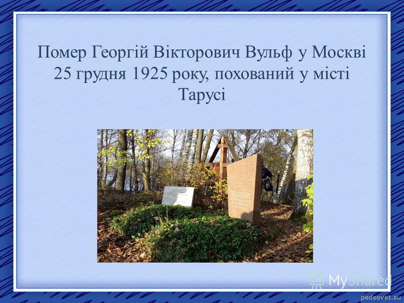 Помер Георгій Вікторович Вульф у Москві 25 грудня 1925 року, похований у місті Тарусі