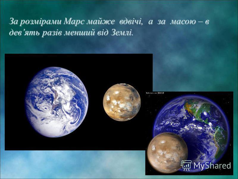 За розмірами Марс майже вдвічі, а за масою – в девять разів менший від Землі.