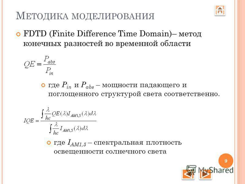 М ЕТОДИКА МОДЕЛИРОВАНИЯ FDTD (Finite Difference Time Domain)– метод конечных разностей во временной области где P in и P abs – мощности падающего и поглощенного структурой света соответственно. где I AM1,5 – спектральная плотность освещенности солнеч