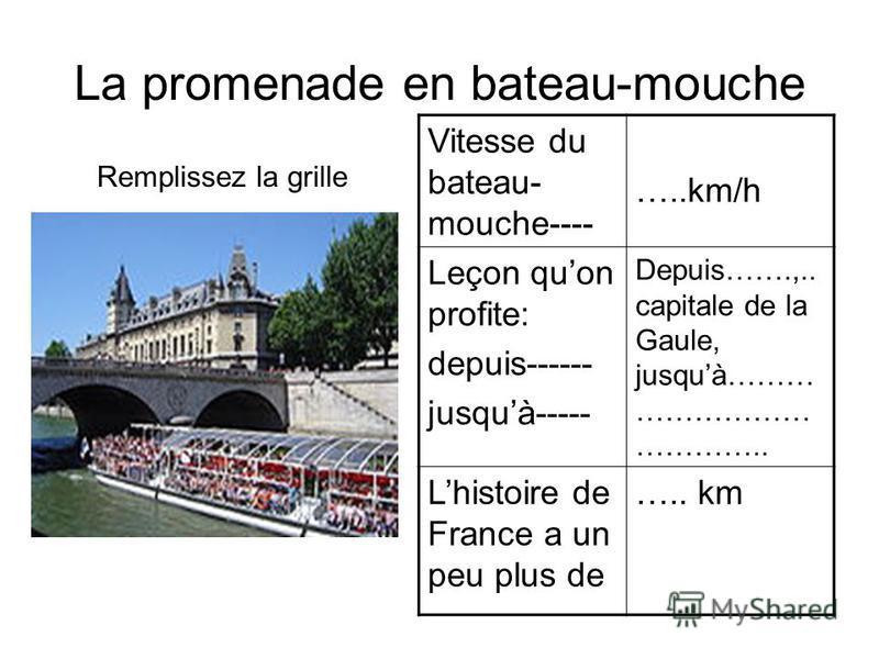 La promenade en bateau-mouche Remplissez la grille Vitesse du bateau- mouche---- …..km/h Leçon quon profite: depuis------ jusquà----- Depuis…….,.. capitale de la Gaule, jusquà……… ……………… ………….. Lhistoire de France a un peu plus de ….. km L e c o n q u