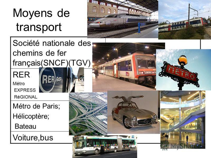 Moyens de transport Société nationale des chemins de fer français(SNCF)(TGV) RER Métro EXPRESS RéGIONAL Métro de Paris; Hélicoptère; Bateau Voiture,bus