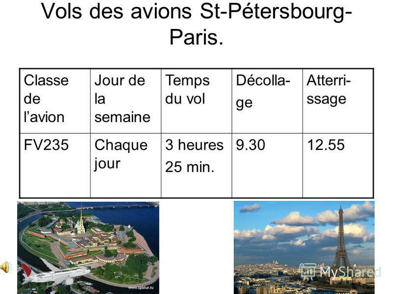 Vols des avions St-Pétersbourg- Paris. Classe de lavion Jour de la semaine Temps du vol Décolla- ge Atterri- ssage FV235Chaque jour 3 heures 25 min. 9.3012.55